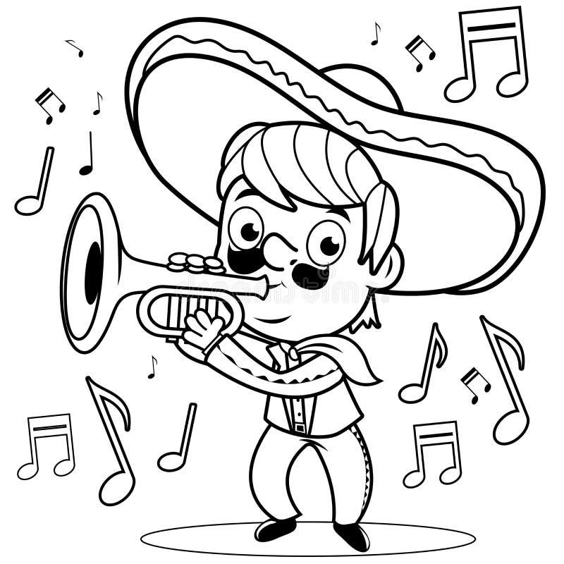 El Mariachi Mexicano Sirve Tocar La Trompeta Página Blanco Y