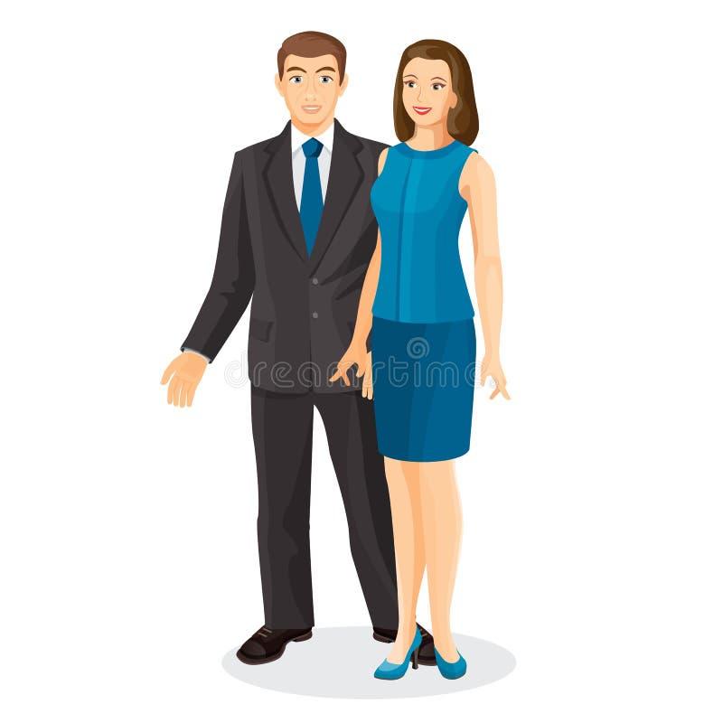El marido y la esposa elegantes de los pares vector el ejemplo aislado en blanco ilustración del vector