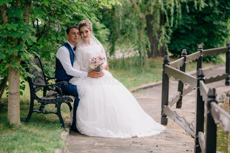 El marido y la esposa están mirando en una dirección Los recienes casados se están sentando en el parque en trajes de la boda y l foto de archivo