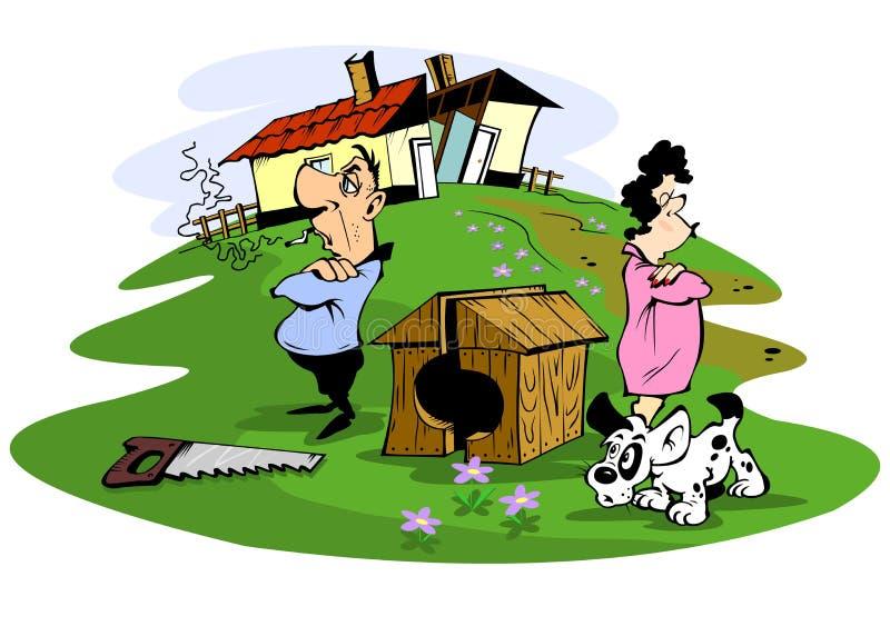 El marido y la esposa pelearon libre illustration