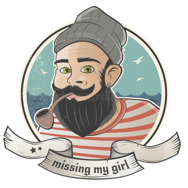 El marinero de la historieta está faltando a su muchacha ilustración del vector
