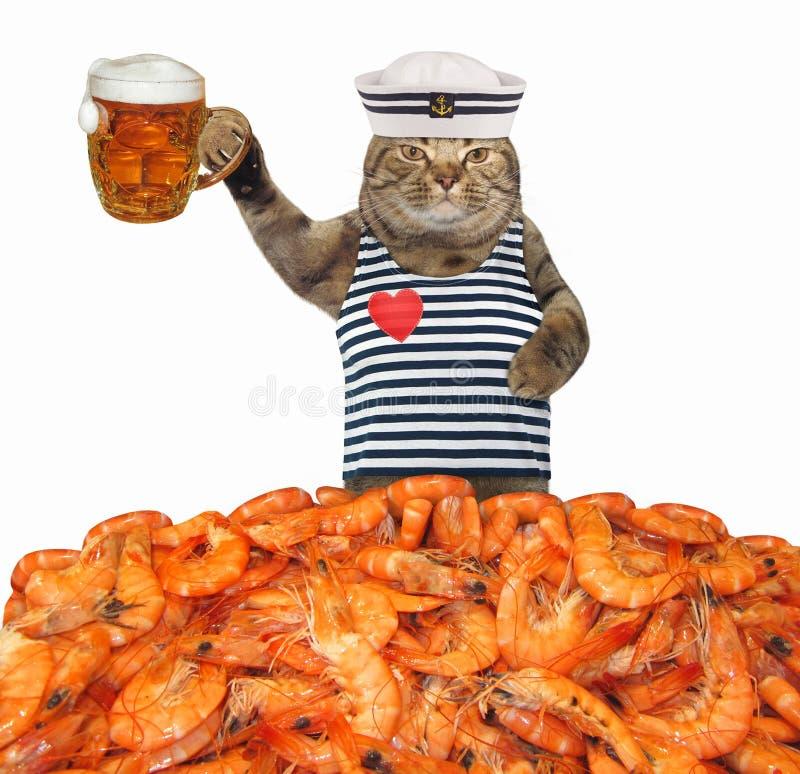 El marinero del gato bebe la cerveza con el camarón imagen de archivo