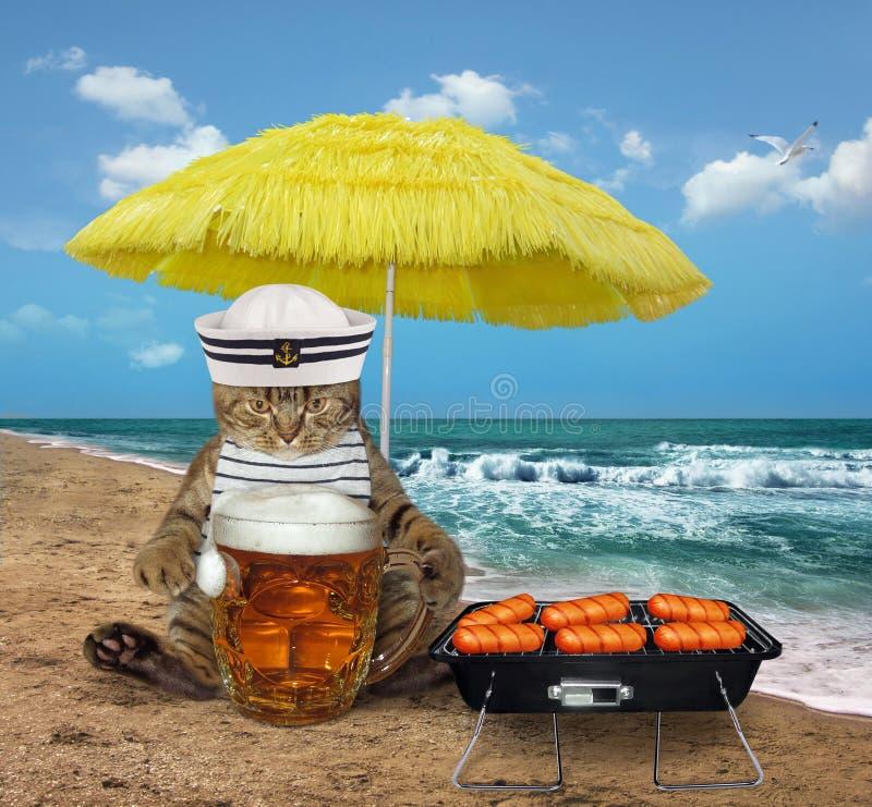 El marinero del gato bebe la cerveza en la orilla foto de archivo libre de regalías