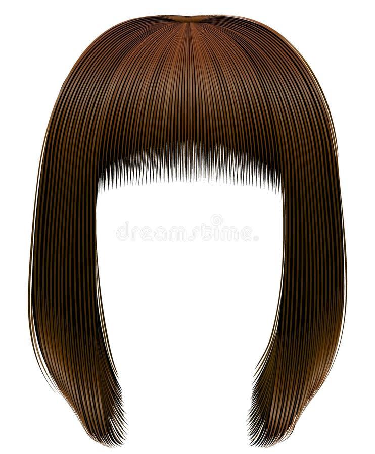 El marrón oscuro de los pelos de moda colorea la franja del kare Moda de la belleza libre illustration