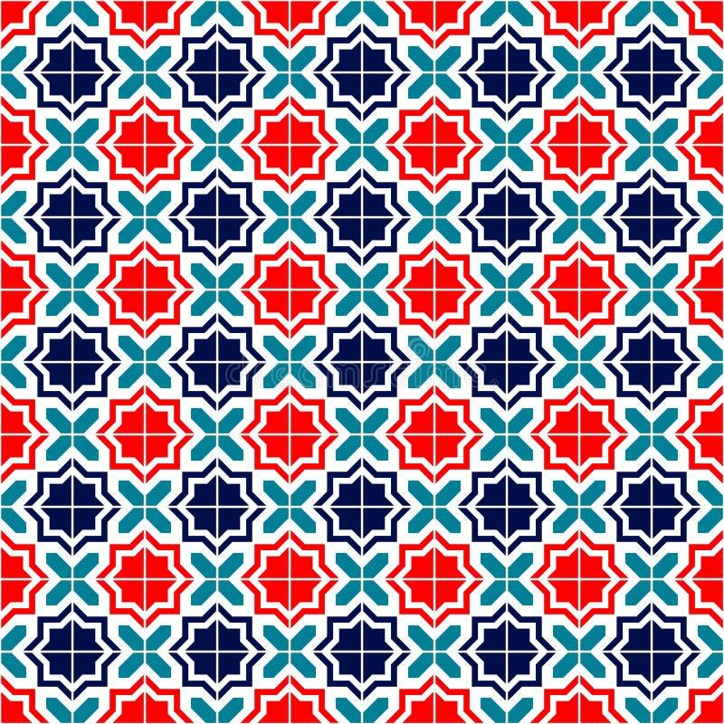 El marroquí azul del rojo y blanco teja el modelo inconsútil, vector stock de ilustración