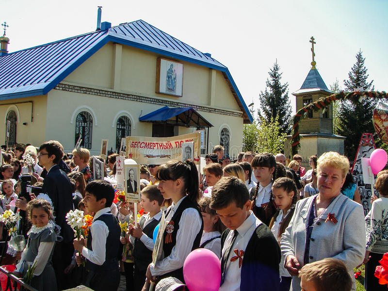 El marzo del regimiento inmortal en la región Rusia de Kaluga en 9 puede 2016 imagen de archivo libre de regalías