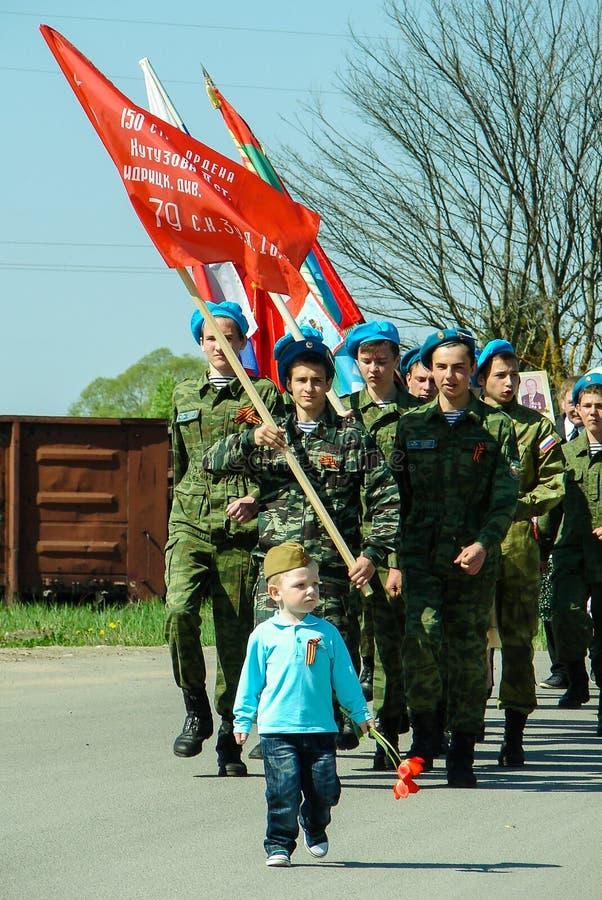 El marzo del regimiento inmortal en la región Rusia de Kaluga en 9 puede 2016 fotos de archivo libres de regalías