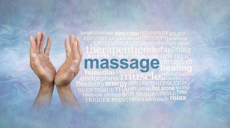 El masaje masculino da la nube de la palabra ilustración del vector