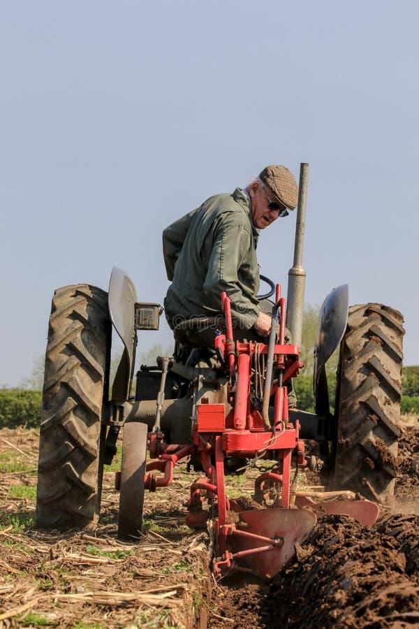 El massey gris viejo fergusen el tractor en el partido de arado imagen de archivo libre de regalías