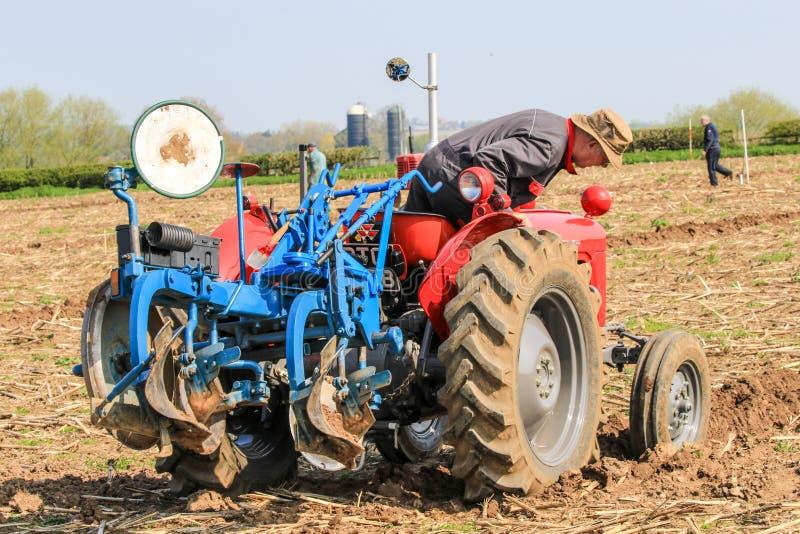 El massey rojo viejo fergusen el tractor en el partido de arado fotografía de archivo libre de regalías