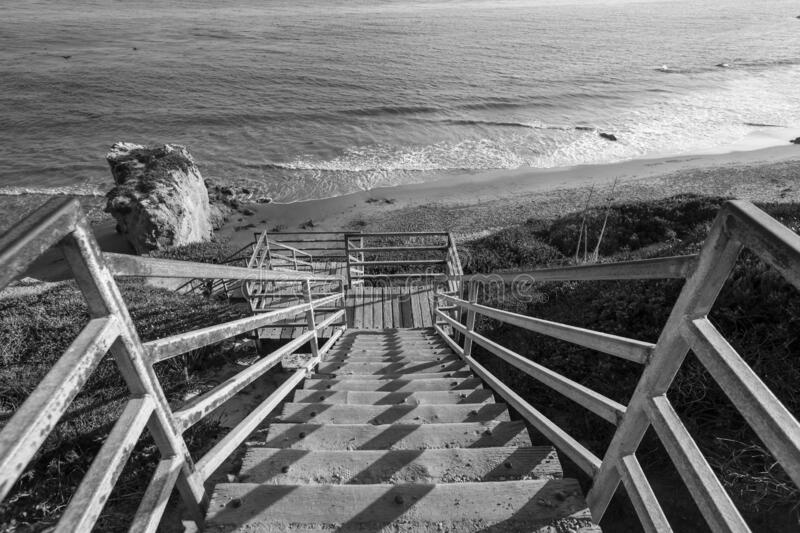 El Matador Beach Stairs Black and White royalty free stock photography