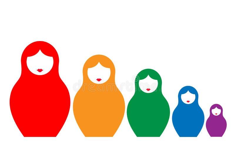 El matrioshka ruso de la muñeca de la jerarquización, fijó el símbolo colorido del icono de Rusia, aislado stock de ilustración