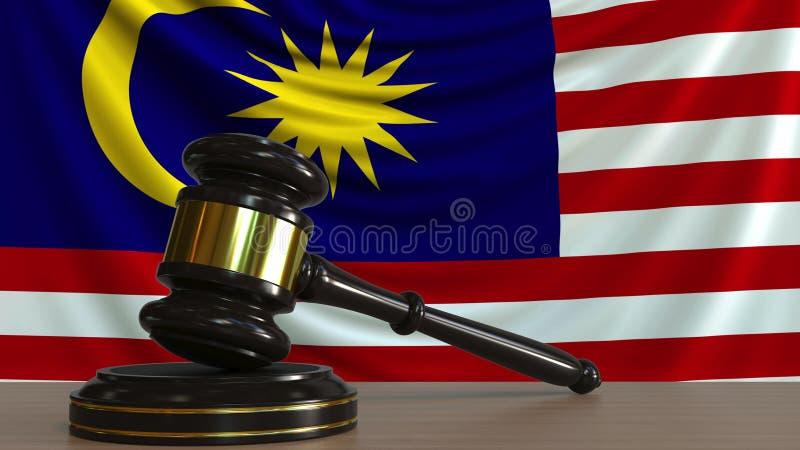 El mazo y el bloque del juez contra la bandera de Malasia Representación conceptual 3D de la corte malasia ilustración del vector