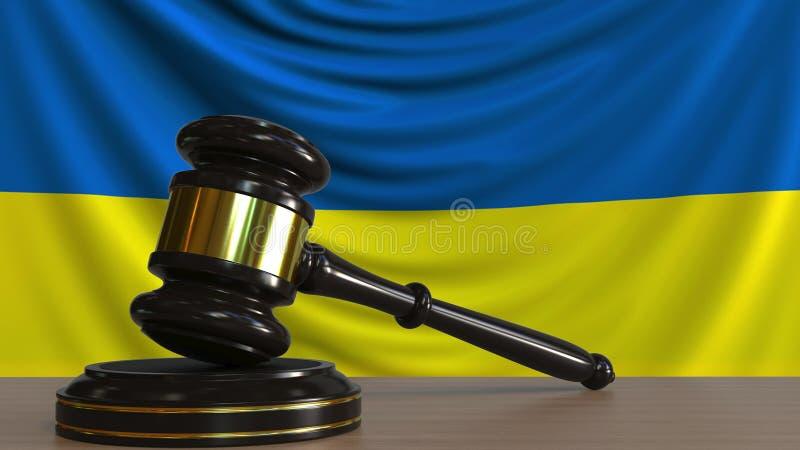 El mazo y el bloque del juez contra la bandera de Ucrania Representación conceptual 3D de la corte ucraniana stock de ilustración
