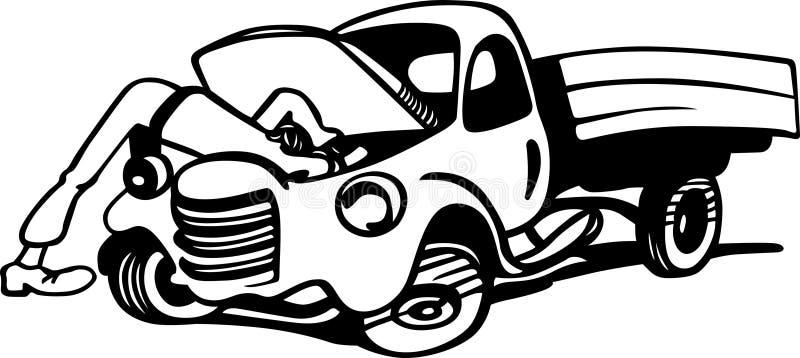 El mecánico de automóviles repara un motor del camión ilustración del vector