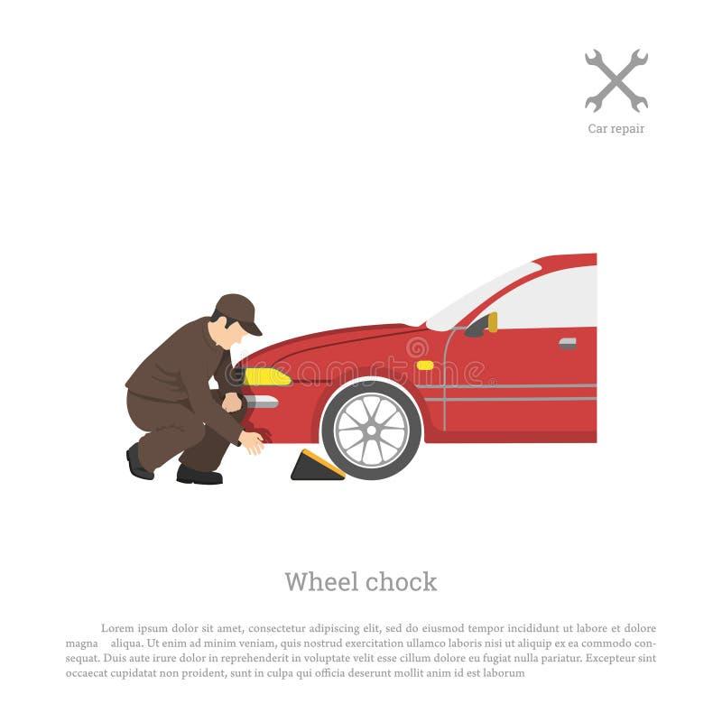 El mecánico fija la cuña para la rueda Reparación y mantenimiento del coche stock de ilustración