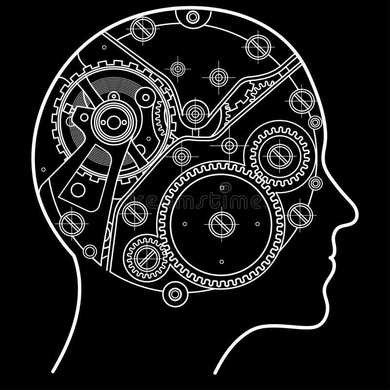 El mecanismo del pensamiento humano Se representa bajo la forma de mecanismo del reloj con los engranajes y los tornillos localiz libre illustration