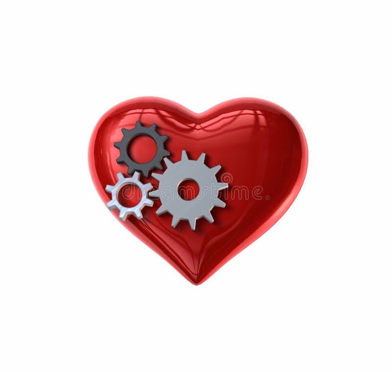 El mecanismo engrana el corazón ilustración del vector