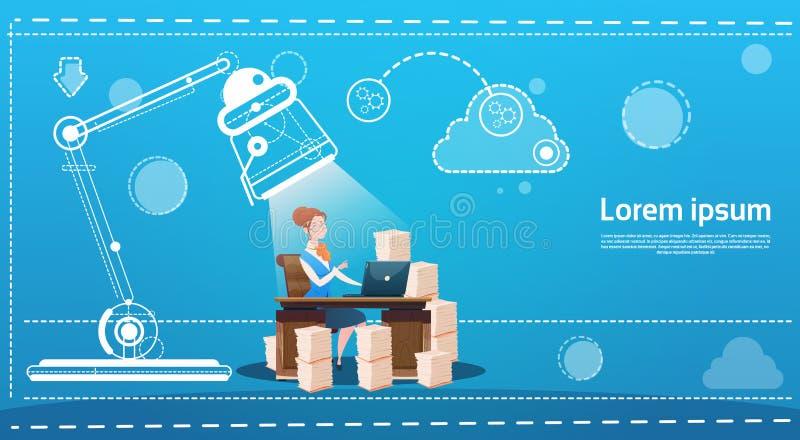 El mecanografiar del ordenador portátil del lugar de trabajo de la oficina del escritorio de la mujer de negocios que se sienta libre illustration