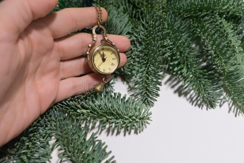 El medallón mecánico del reloj con una cadena con un dial con los números romanos miente a mano el fondo de ramas verdes de imágenes de archivo libres de regalías