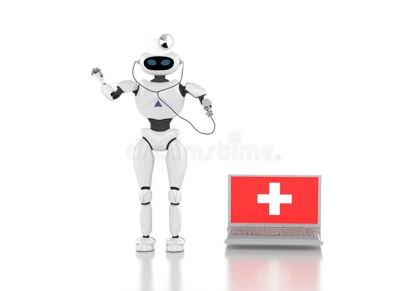 El medik 3d del robot rinde ilustración del vector