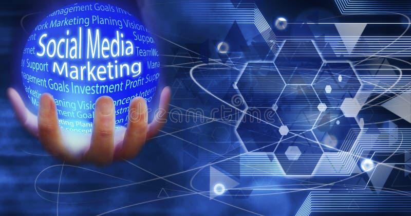 El medios globo de comercialización social de la tierra conectó la innovación con las ideas y los conceptos, entrenamiento, negoc stock de ilustración