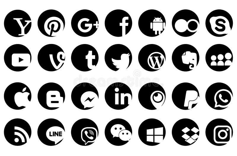 El medios negro social del icono del logotipo del sitio web stock de ilustración