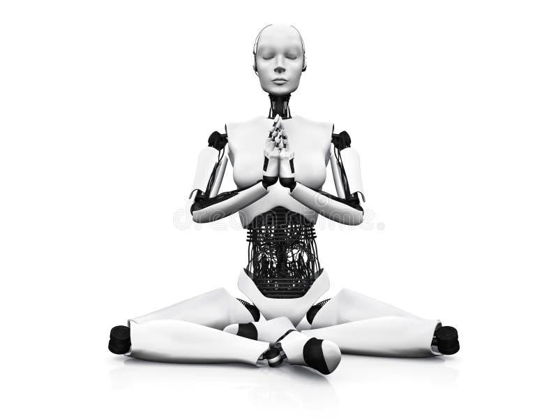 El meditar de la mujer del robot. ilustración del vector