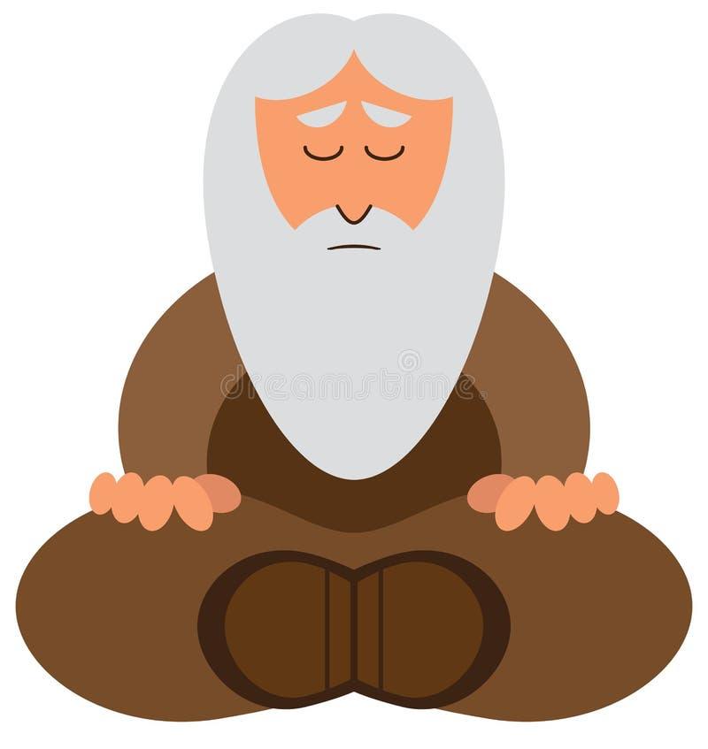 El meditar del hombre sabio de la historieta stock de ilustración