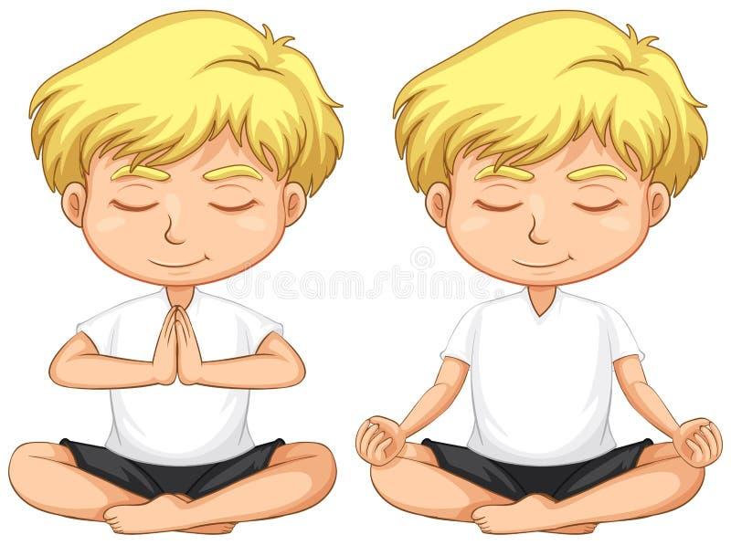El meditar rubio joven del muchacho libre illustration