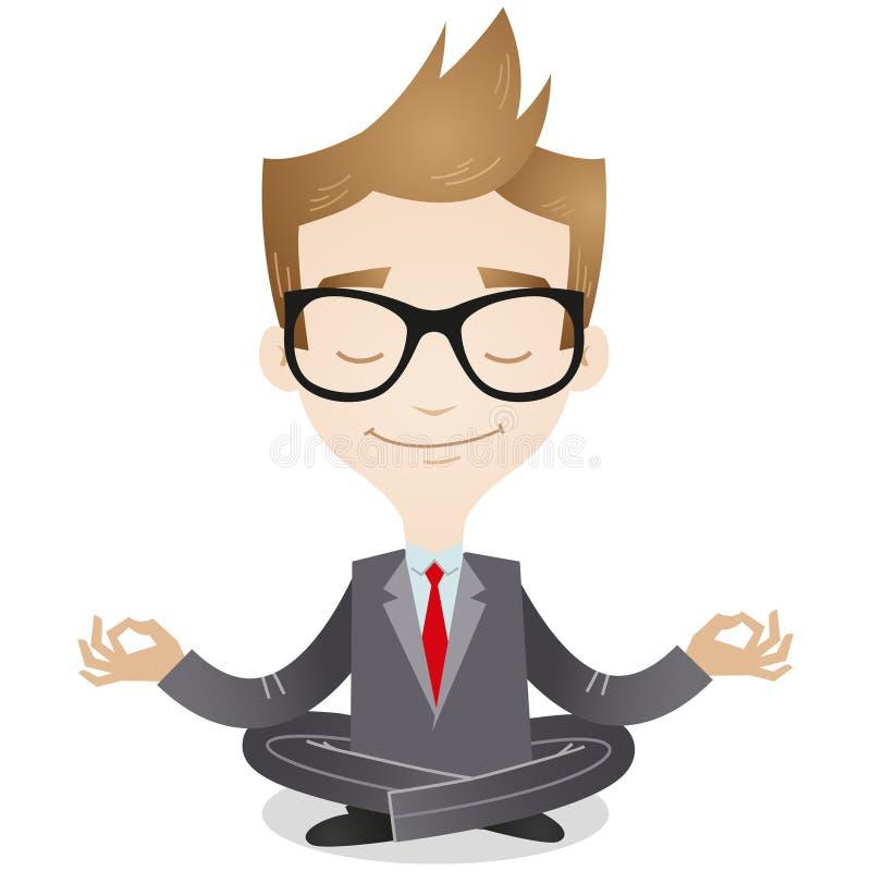 El meditar tranquilo del hombre de negocios ilustración del vector