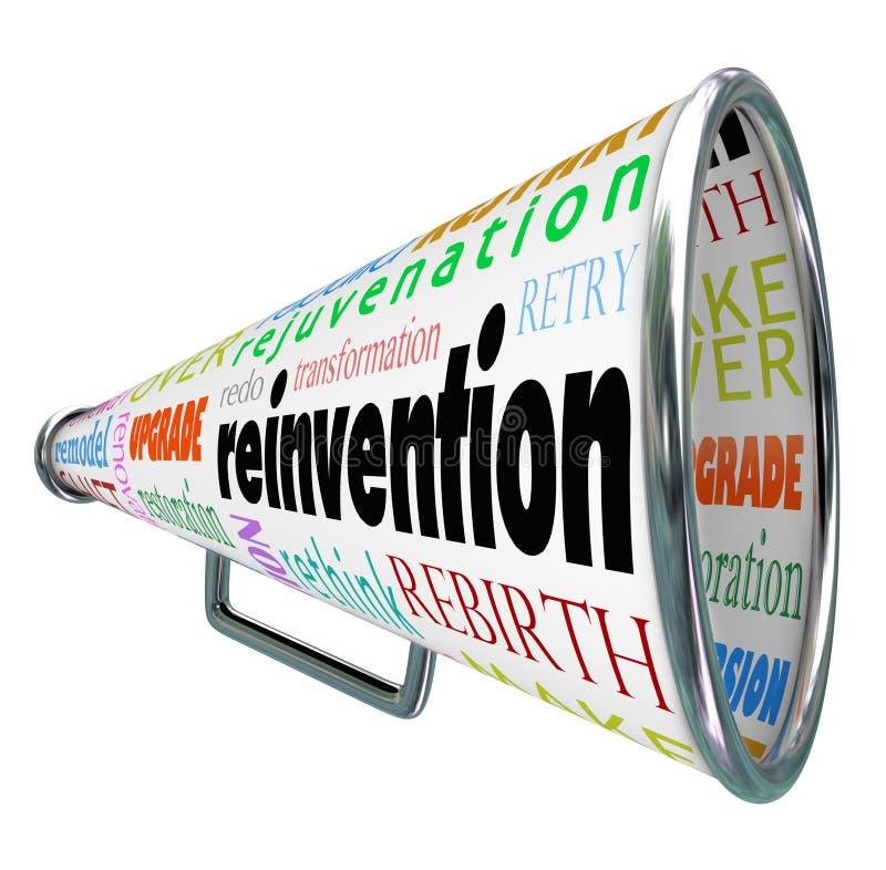 El megáfono del megáfono de la reinvención hace de nuevo la reconstrucción del recomienzo stock de ilustración
