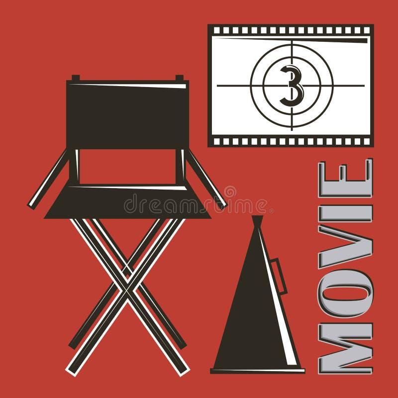 El megáfono y la película de la silla del director de película pelan cuenta descendiente libre illustration