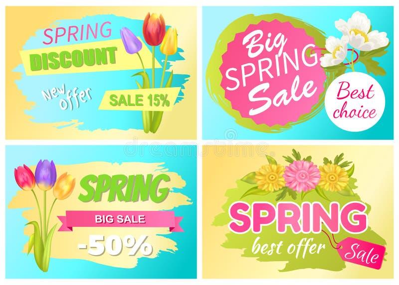 El mejor anuncio Daisy Flowers de la venta de la primavera de la oferta libre illustration