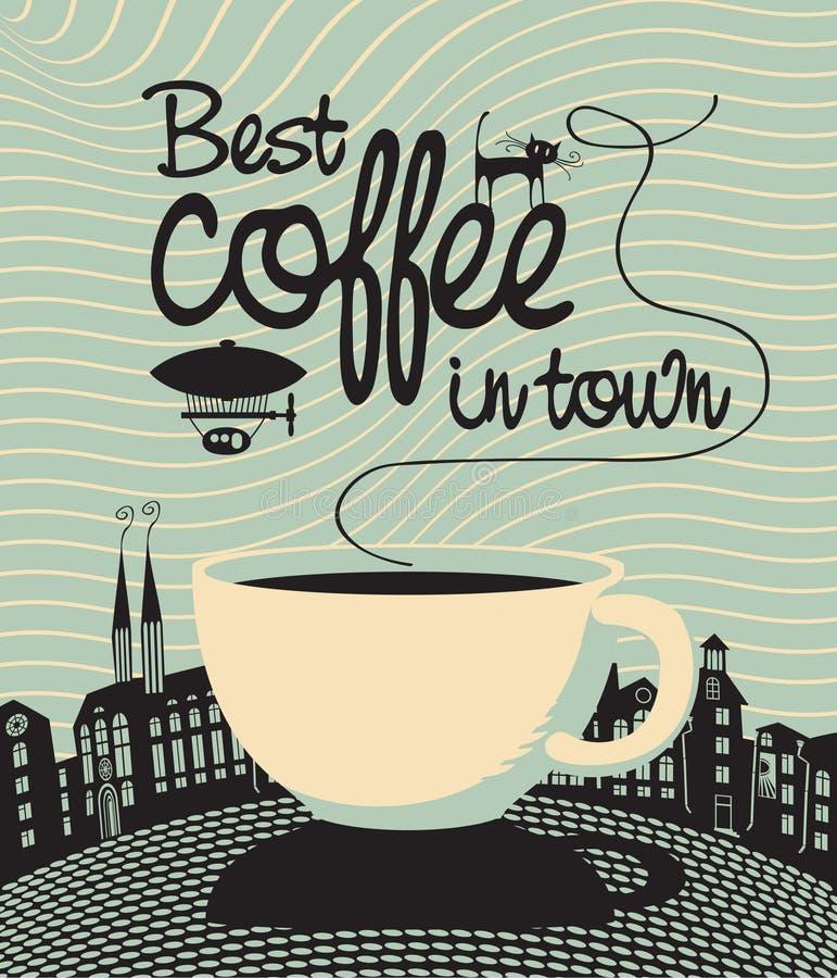 El mejor café en ciudad ilustración del vector