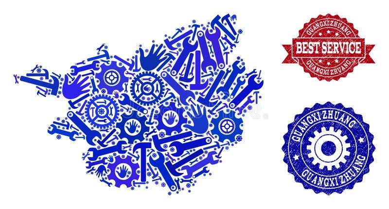 El mejor collage del servicio del mapa de la región de Guangxi Zhuang y de sellos texturizados ilustración del vector