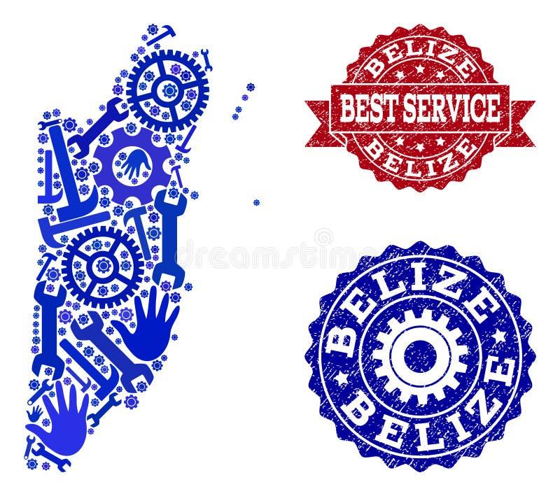 El mejor collage del servicio del mapa de los sellos de Belice y del Grunge stock de ilustración