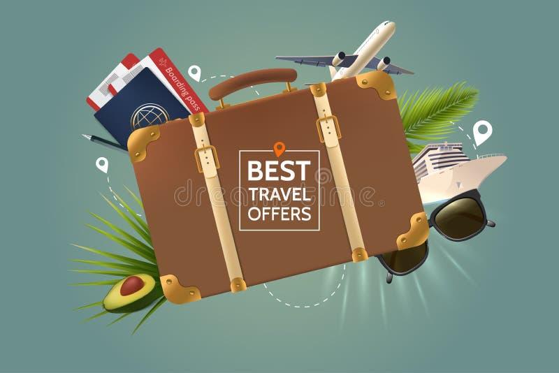 El mejor concepto de la oferta del viaje Maleta marrón retra en el fondo de las cualidades del turismo Avión de aire, pasaporte libre illustration