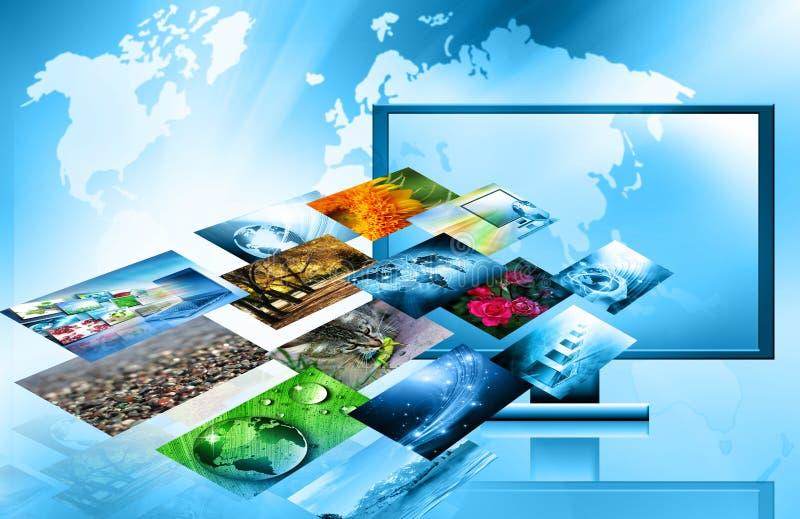 El mejor concepto del Internet de asunto global de la serie de los conceptos Concepto de la tecnología de producción de la televi ilustración del vector