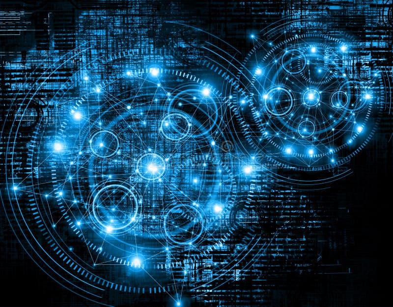 El mejor concepto del Internet de asunto global fondo tecnológico Irradia Wi-Fi de los símbolos, de Internet, televisión ilustración del vector