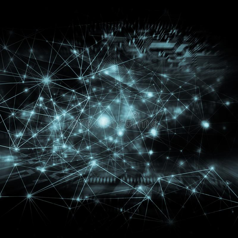 El mejor concepto del Internet de asunto global Fondo tecnológico, Wi-Fi de los símbolos, de Internet, televisión, móvil stock de ilustración
