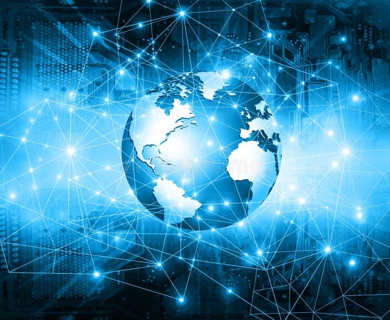 El mejor concepto del Internet de asunto global Globo, líneas que brillan intensamente en fondo tecnológico Electrónica, Wi-Fi, r stock de ilustración