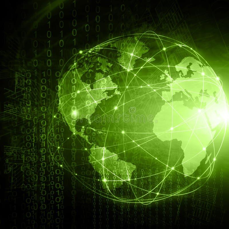 El mejor concepto del Internet de asunto global Globo, líneas que brillan intensamente en fondo tecnológico Electrónica, Wi-Fi, r libre illustration