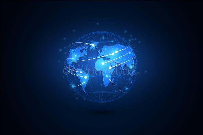 El mejor concepto del Internet de asunto global Globo, líneas que brillan intensamente o ilustración del vector