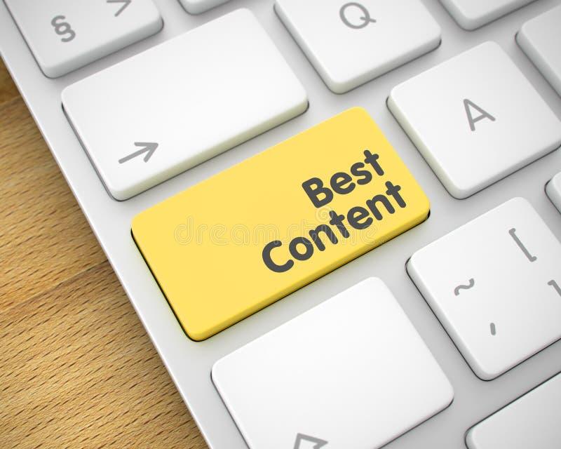 El mejor contenido - texto en telclado numérico amarillo del teclado 3d stock de ilustración