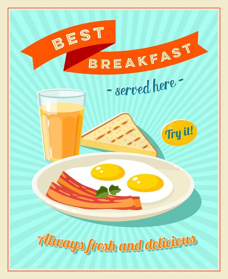 El mejor desayuno - muestra del restaurante del vintage Cartel diseñado retro con los huevos fritos, las rebanadas de tocino, la  ilustración del vector
