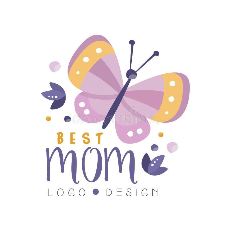 El mejor diseño del logotipo de la mamá, etiqueta creativa feliz del día de madres para la bandera, cartel, tarjeta de felicitaci ilustración del vector