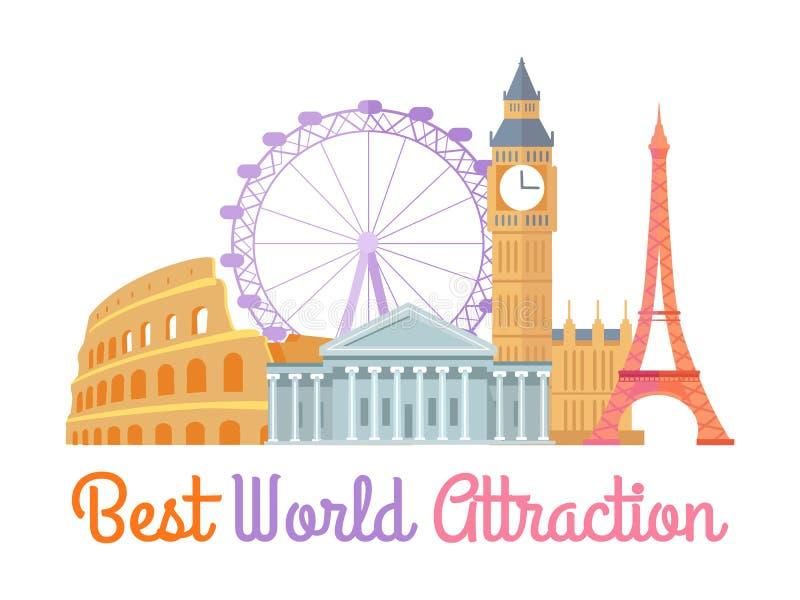 El mejor ejemplo del vector del cartel de la atracción del mundo ilustración del vector
