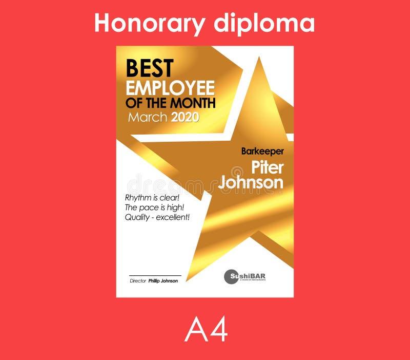 El Mejor Empleado Del Diploma De La Plantilla De Oro Del Mes Con El ...