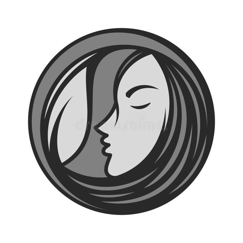 El mejor icono creativo de la cara de la mujer de la silueta stock de ilustración